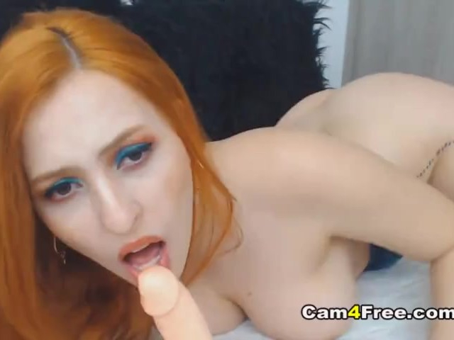 Sweet Redhead Dildos Her Pussy