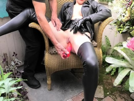 Femdom in Leather, PVC and Latex makes slave pleasure her to orgasmic squirting