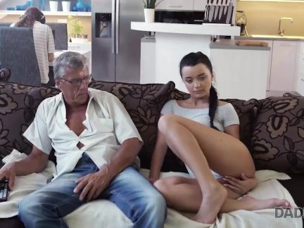 Raven-haired angel gets old and young sexual experience