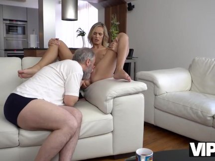 Brilliant blonde gets satisfied with old husbands phallus